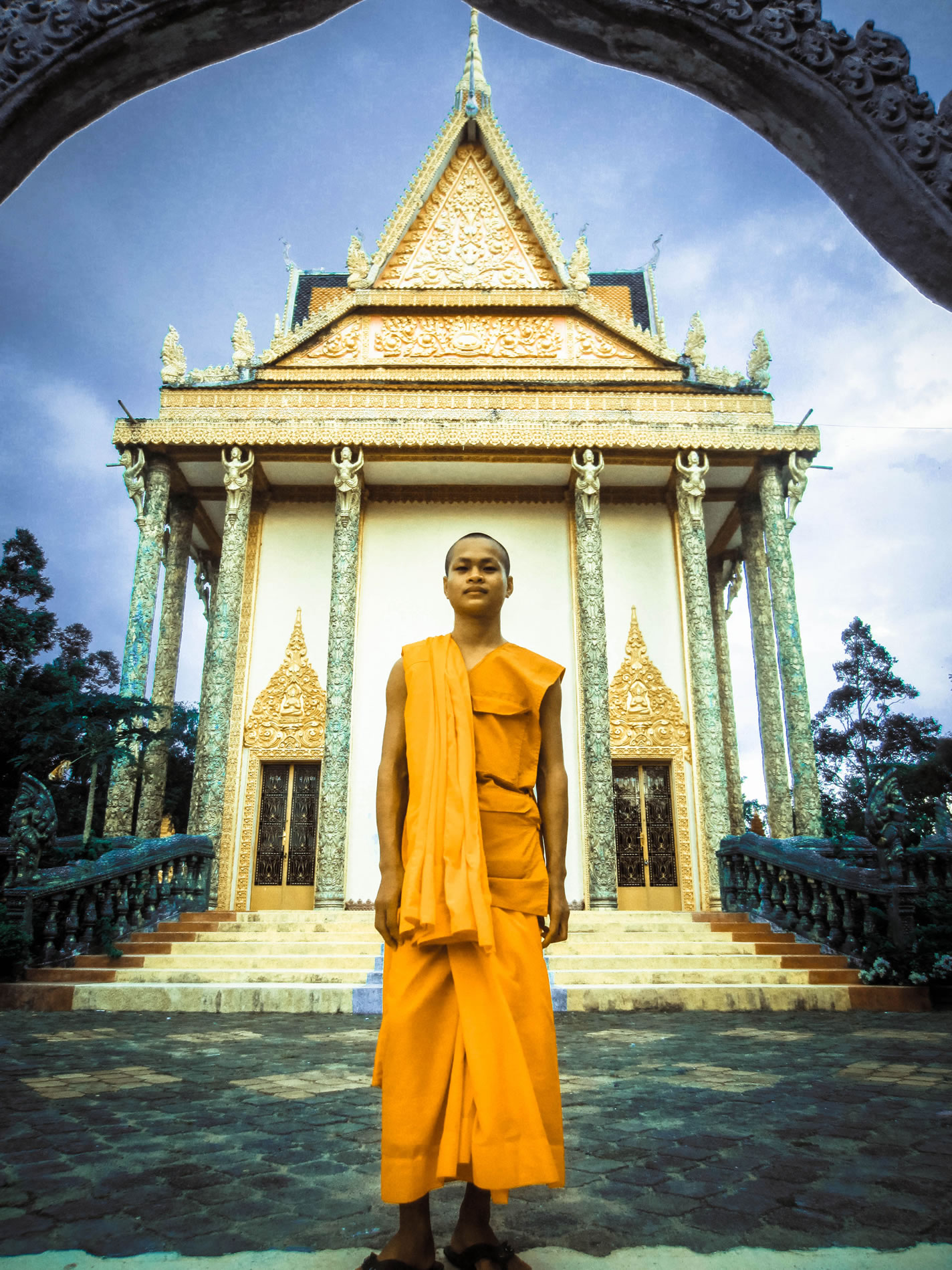 This monk at Wat Treuy Koh said that when the Khmer Rouge was a tit's most powerful, they were still afraid of the mystic powers of the head monk here, so they stayed away from the area.
